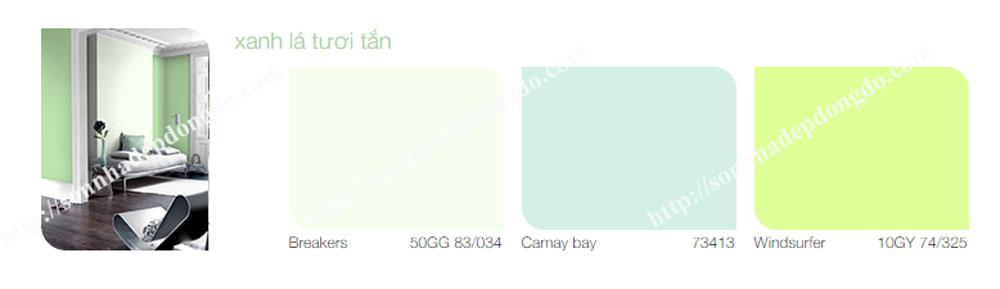 Bảng màu sơn dulux trong nhà màu xanh lá tươi tắn